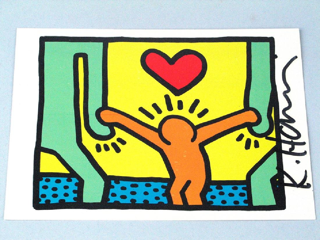 Keith Haring Postcard Signed Boy Heart