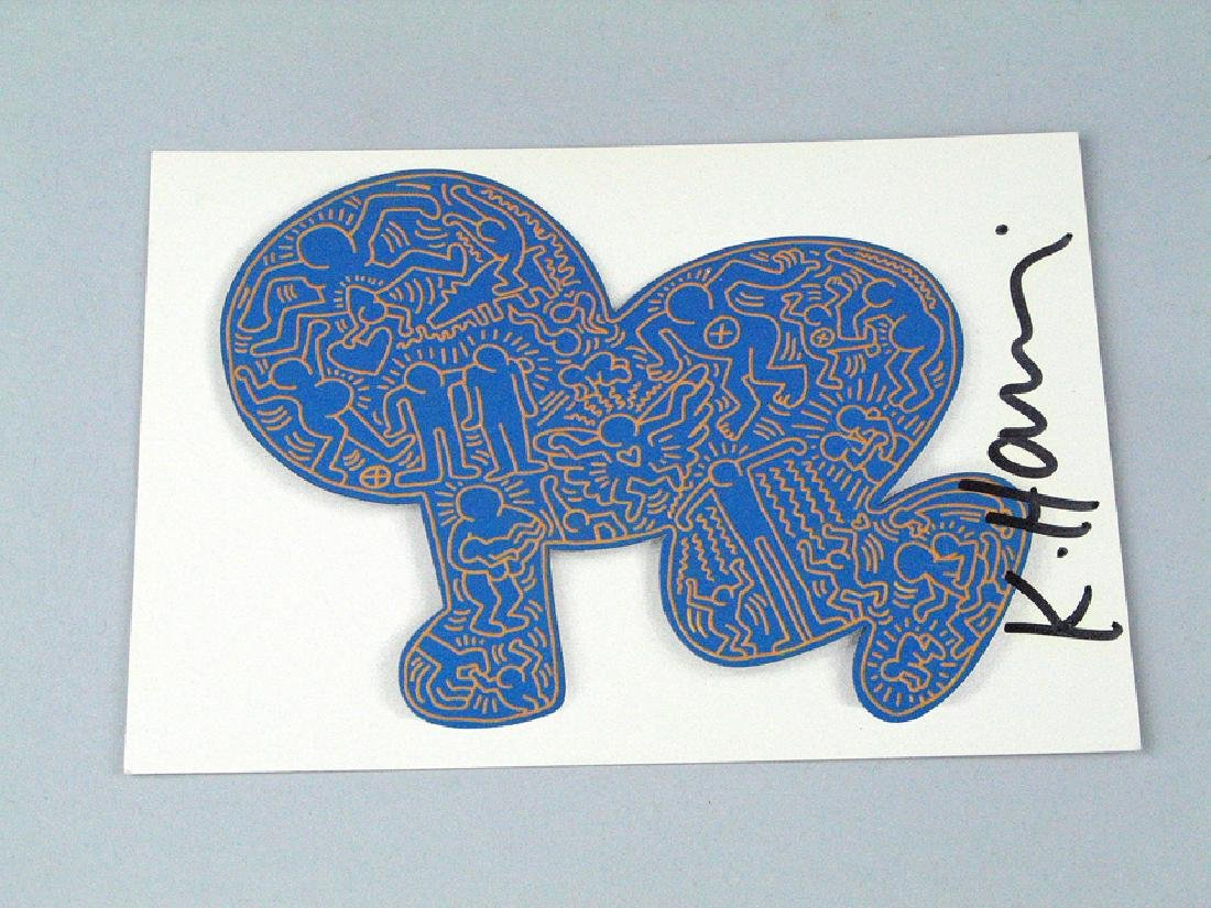 Keith Haring Postcard Signed Blue Baby