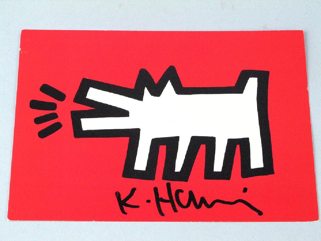 Keith Haring Postcard Signed Red Dog