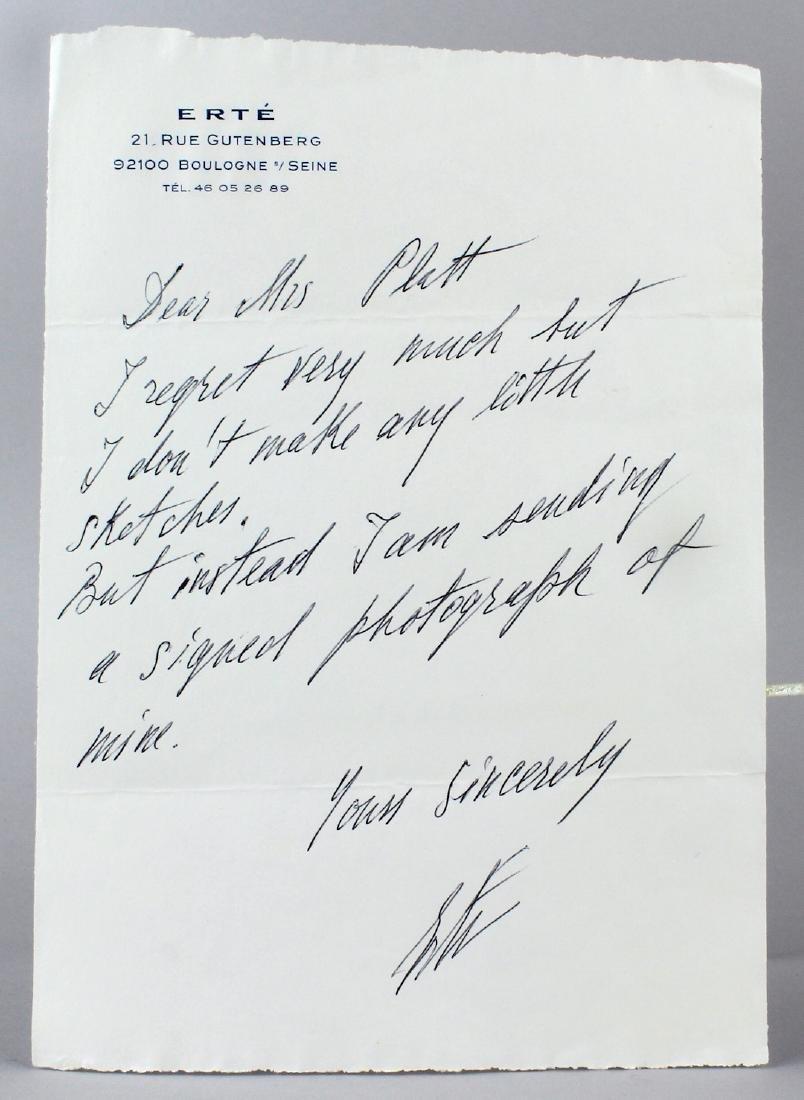 Erte Signed Letter on Stationary to Platts