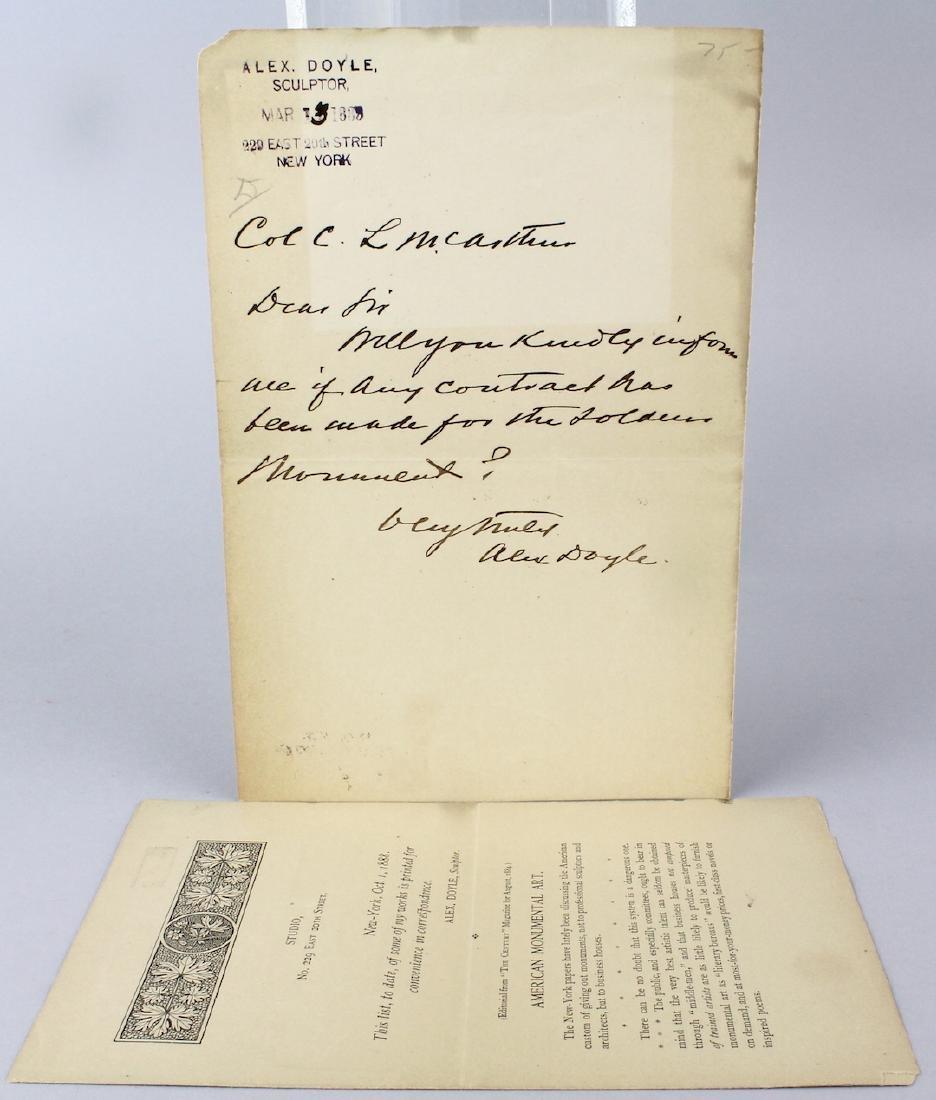 Alex Doyle Sculptor 1888 Signed Letter