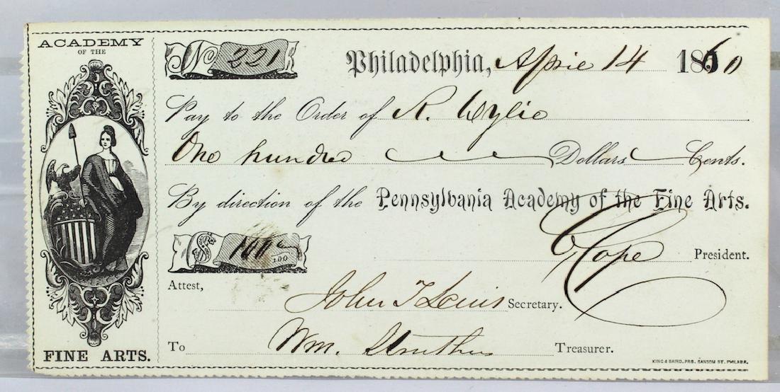 1860 Pennsylvania Academy of Fine Arts Check