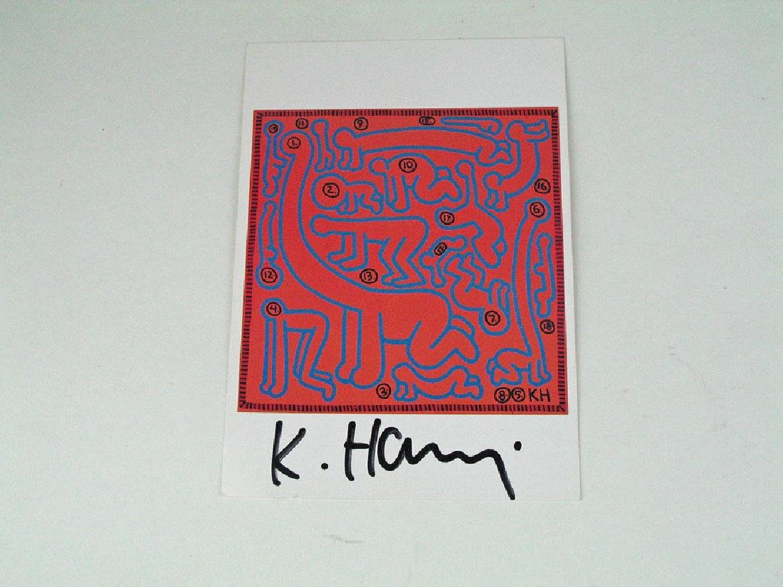 Keith Haring Dino Baby Signed Postcard