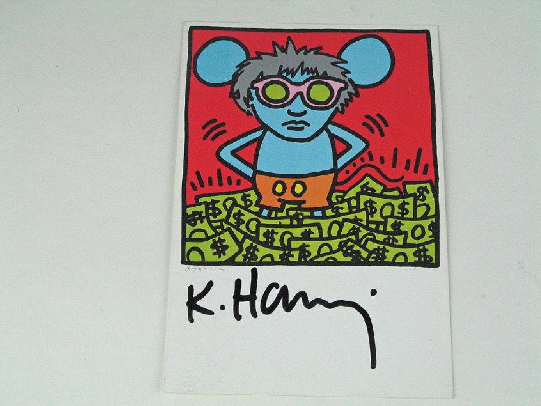 Keith Haring Mouse Ears Signed Postcard