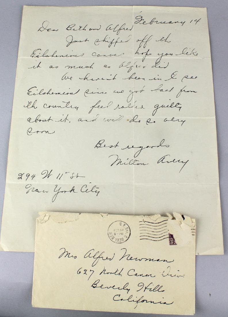 Milton Avery Signed Letter and Envelope 1938