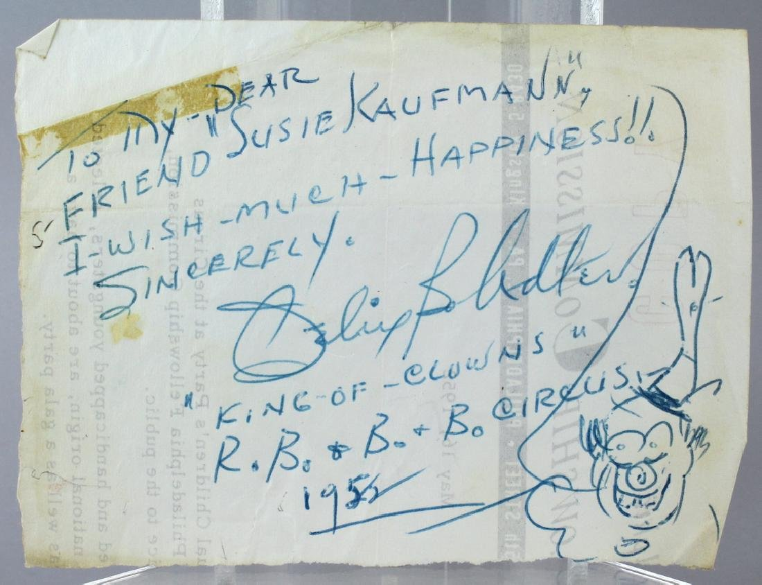 Felix Adler Clown Drawing & Signed Note 1952