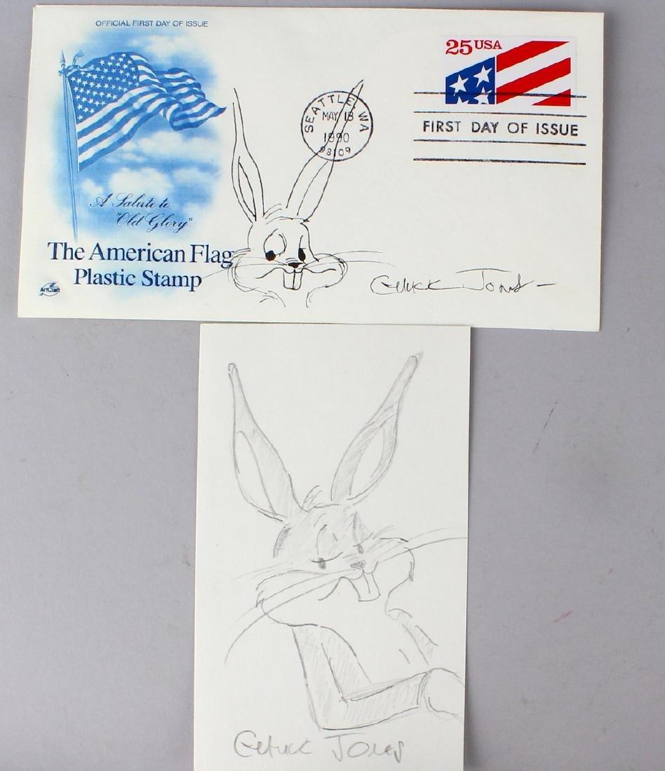 Chuck Jones Bugs Bunny 2 Signed Drawings