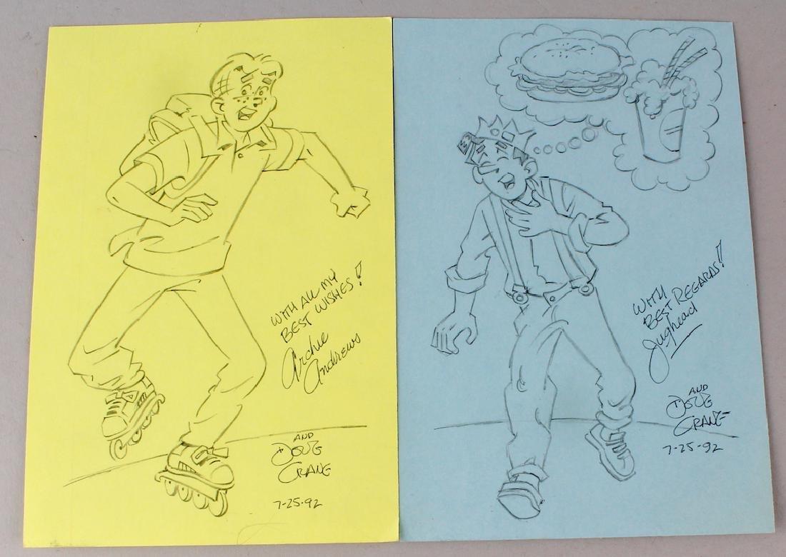 Doug Crane 2 Signed Archie Cartoons Archie & Jughead