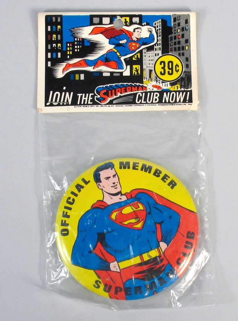 Superman Club Pinback Mint In Package