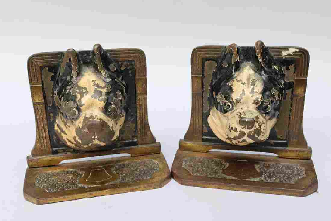 Hubley Sitting Boston Terrier Cast Iron Bookends