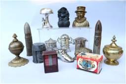 Cast Iron Still Bank Lot Including Artillery & Silver