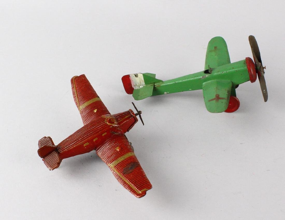 German Tin Wind Up Penny Toy Airplane & Tin Plane - 2