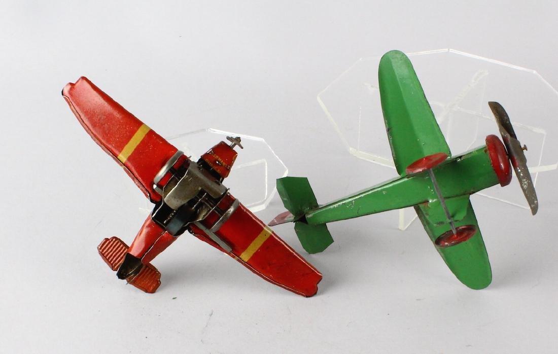German Tin Wind Up Penny Toy Airplane & Tin Plane - 3