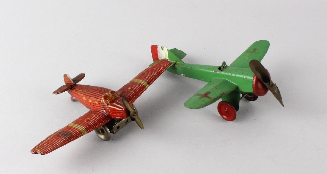 German Tin Wind Up Penny Toy Airplane & Tin Plane - 4