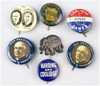 Harding & Coolidge Presidential Campaign Buttons