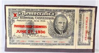 1936 Roosevelt Democratic Convention Ticket