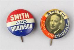 1928 Al Smith, Smith & Robinson Presidential Buttons
