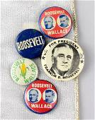 1940 Roosevelt Wallace Campaign Buttons