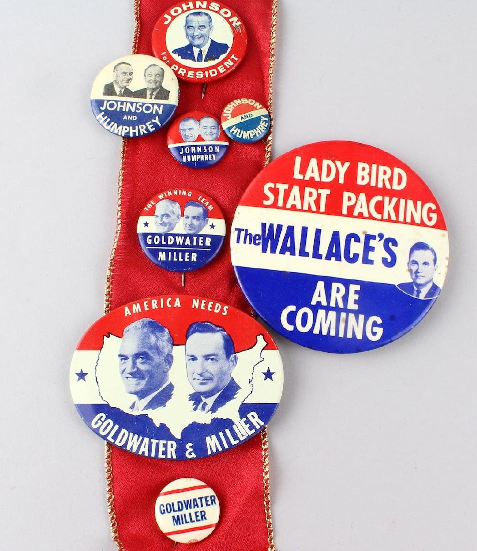 1964 Johnson, Wallace, Goldwater Presidential Pins