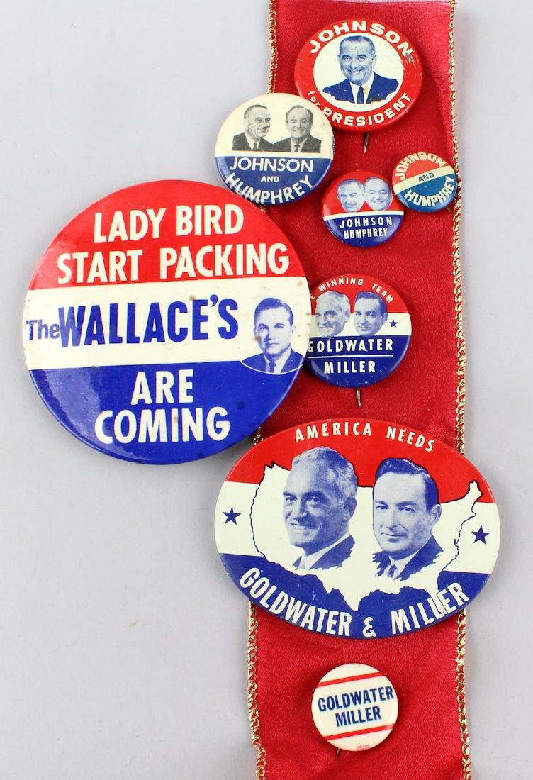 1964 Johnson, Wallace, Goldwater Presidential Pins - 2