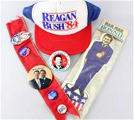 1984 Ronald Reagan Button Lot And Hat &