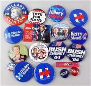 Bush & Kerry & Hillary Campaign Buttons