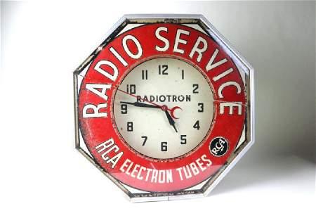 RCA Radio Service Neon Advertising Clock
