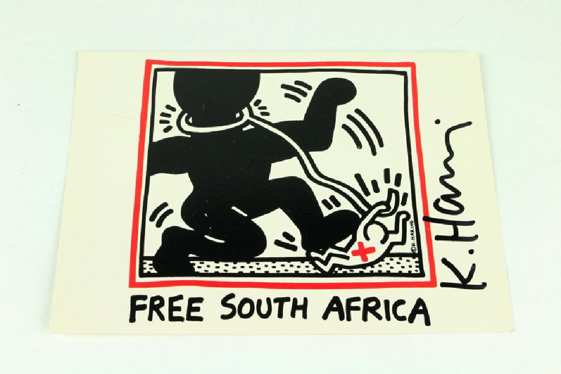 Keith Haring Free South Africa Signed Postcard