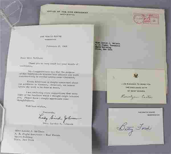Presidential First Lady Signatures Johnson, Carter Ford