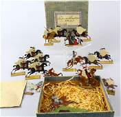 Early Boxed German Tin Flats French Horsemen 19th C