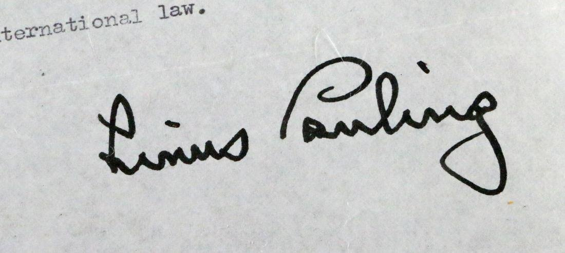 Linus Pauling Hand Typed Letter with Content