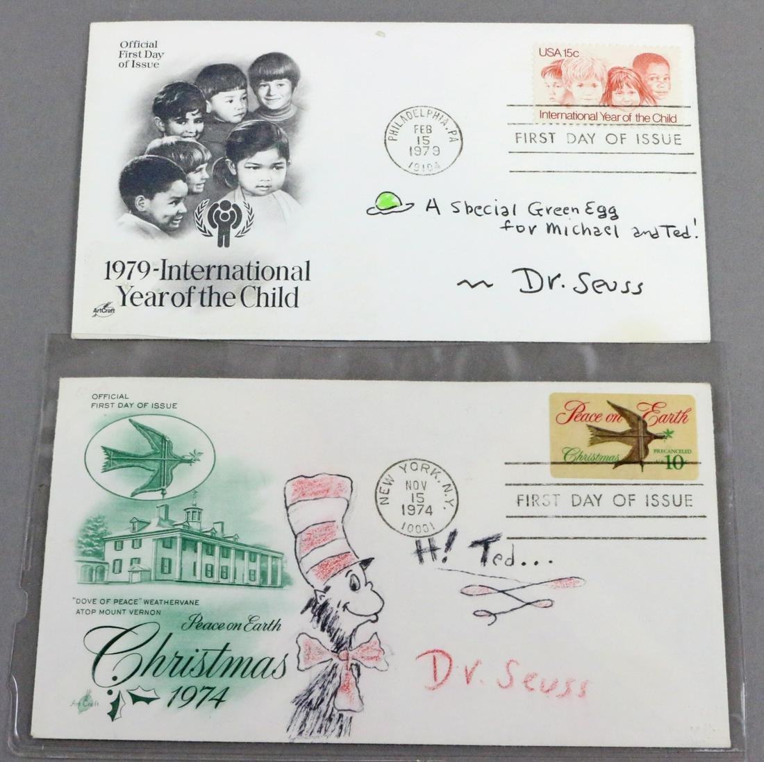 Dr Seuss First Day Covers with Drawing Cat in the Hat