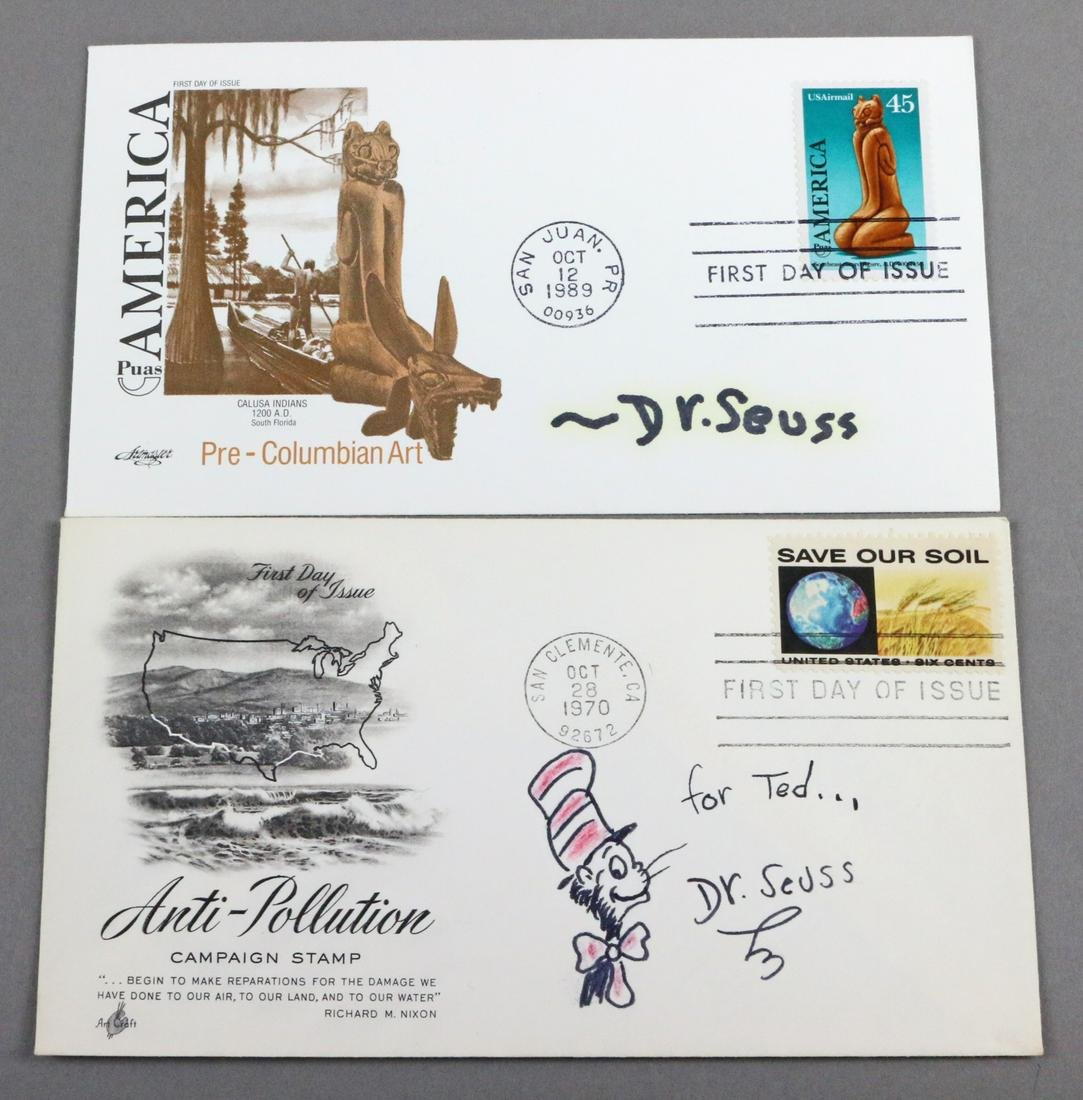 Dr Seuss First Day Covers with Cat in Hat Drawing