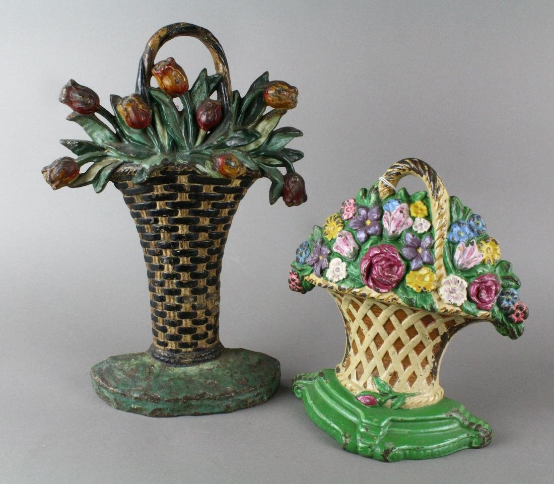 2 Hubley Flower Basket Cast Iron Doorstops