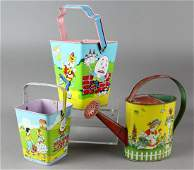 J Chein Tin Sand Pails  Watering Can Nursery Rhymes