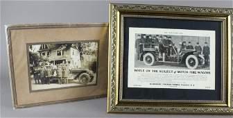 1920 Litchfield CT Fire Dept. Men & Engine Photo