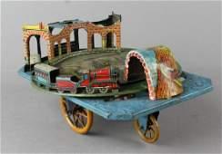 George Levy Gely German Tin Train Platform Toy