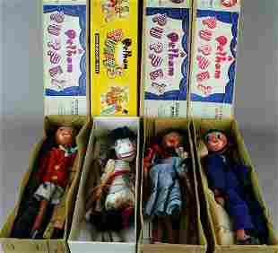 4 Pellam Puppet Marionettes in Box with Theatre