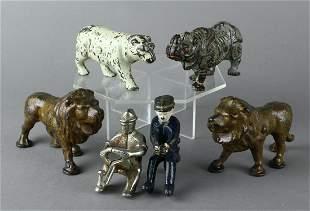 Hubley & Kenton Cast Iron Circus Animals & Driver