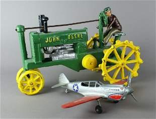 CI John Deere Tractor & Hubley Flying Tiger Airplane
