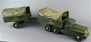 Buddy L WWII Army Transport Truck and Carrier