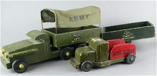 Buddy L WWII Army Transport &n Supply Trucks