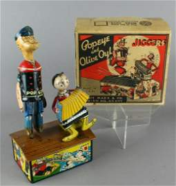 Marx Popeye and Olive Oyl Jiggers in Box