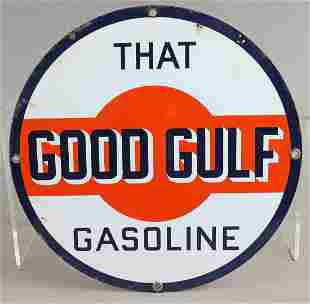 Gulf That Good Gulf Porcelain Sign 1940s