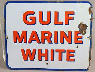Gulf Marine White Porcelain Sign Original 1940s
