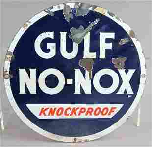 Gulf No Nox Knockproof Porcelain Sign Original 1940s