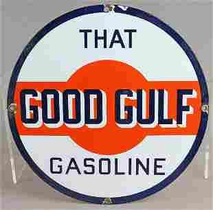 Gulf That Good Gulf Porcelain Sign Original 1940s