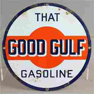 Gulf That Good Gulf Porcelain Sign Original 1940s