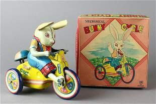 Japan Tin Early Mechanical Bunny Cycle in Box