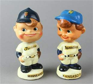 1960s Baseball Nodders KC Athletics & Twins